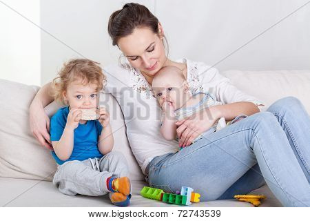 Mum With  Baby And Preschooler