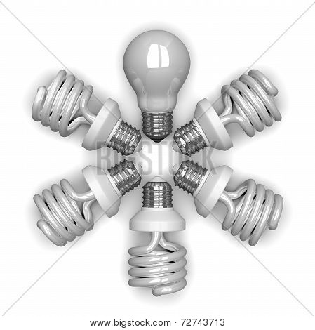 white Tungsten Light Bulb Among Spiral Ones Lying Radially