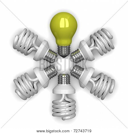 yellow Tungsten Light Bulb Among White Spiral Ones Lying Radially