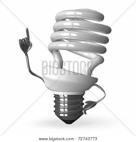 white Spiral Light Bulb Character In Moment Of Insight