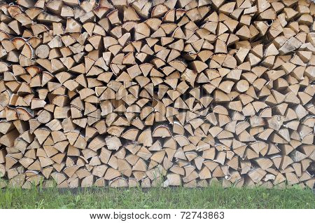 Stack Of Dry Birch Firewood