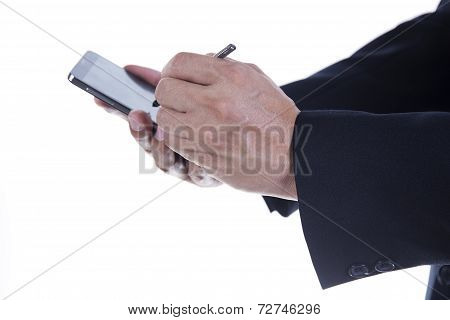 Hands Of Businessman With Stylus Touching The Screen Of Smart Phone