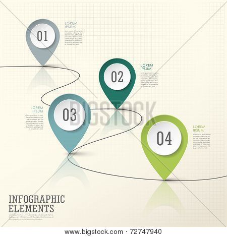 Abstract Modern Paper Location Mark Infographic Elements