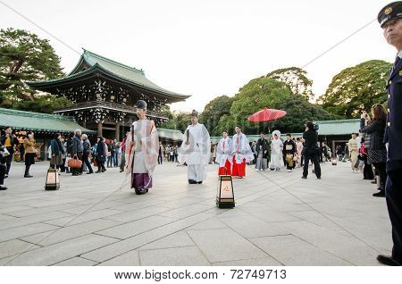 Tokyo, Japan - November 23, 2013: Japanese Wedding Ceremony At Shrine