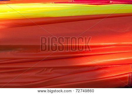 Closeup of orange balloon fabric