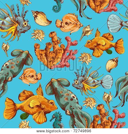 Sea creatures sketch colored seamless pattern