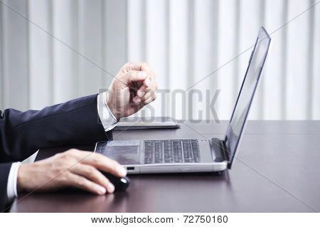 Hand Of Business Man Typing On The Labtop