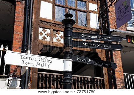 Tourist information sign, Chester.