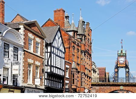 Eastgate clock and buildings, Chester.