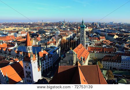 view over the roofs of Munich