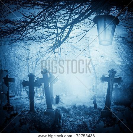 Halloween Illustration Night Cemetery Old Graves Cats Lanterns