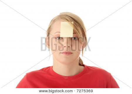 Yellow Sticky Note On Forehead