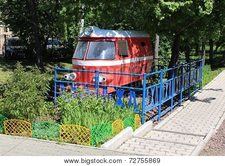 Old children's railway locomotive. Gorky Park