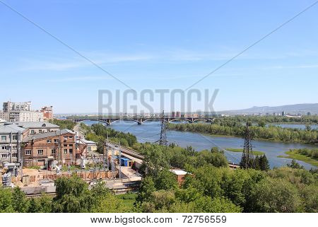 View on Krasnoyarsk, communal bridge