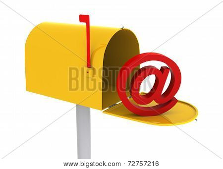 Yellow Mailbox With E-mail Logo Inside.