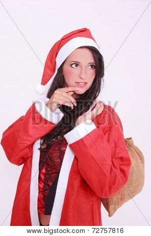 Young christmas woman in lingerie with jacket and red cap