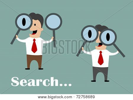 Businessman looking through magnifying glasses