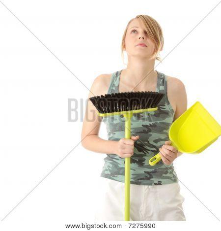 Cute Maid Woman Cleaner