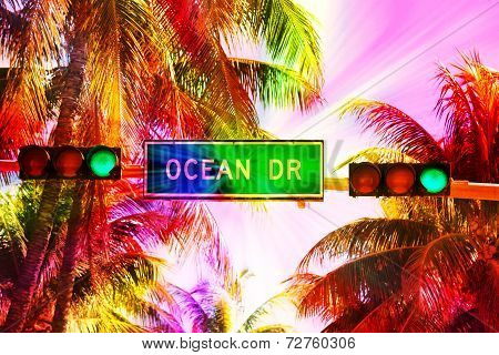 Ocean Drive Sign And Traffic Light