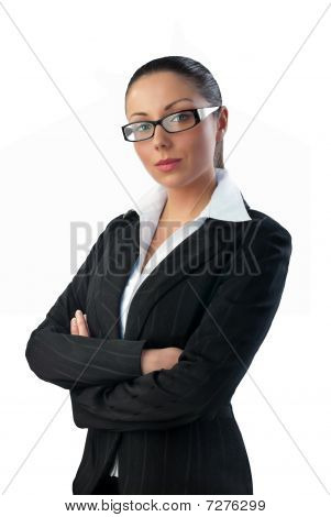 Attractive Young Brunette Businesswoman In Suit