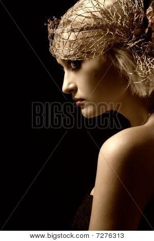 Sepia Toned Portrait Of Attractive Retro-style Girl In Bonnet