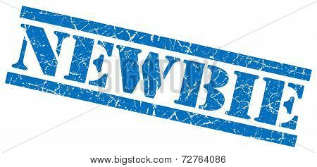 Newbie Blue Grungy Stamp On White Background