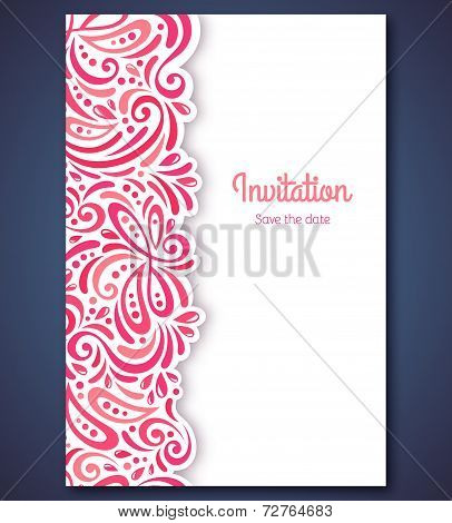 Wedding invitation card template with abstract pattern backgroun