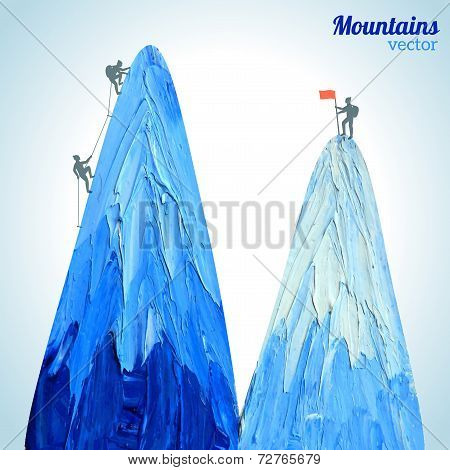 Vector hand drawn snow peak.