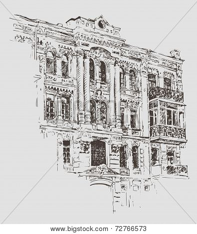 sketch drawing of Kiev historical building, Ukraine