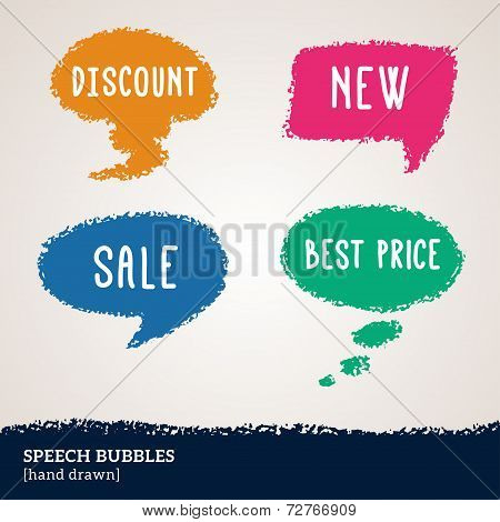 Sale hand drawn multicolored speech bubbles isolated on white.