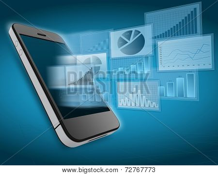 Department financial charts on screen of the mobile phone.