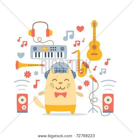 Musician Character In Costume, Hat And Bow Tie Colorful Flat Com