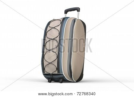Neutral brown travel baggage suitcase