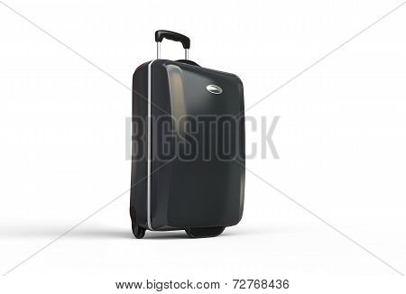 Black polycarbonate travel baggage suitcase on white background
