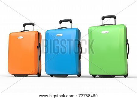 Brightly colored polycarbonate travel baggage suitcases