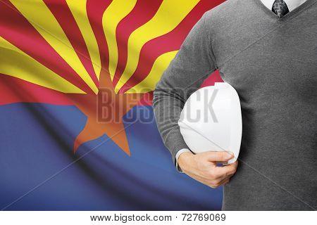 Engineer With Flag On Background Series - Arizona