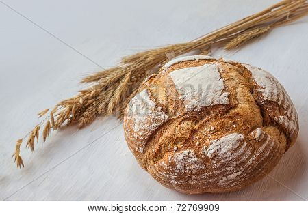 Loaf Of Wheat Bread And A Sheaf