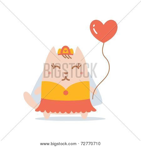 Character Bride In A Wedding Dress With Veil Colorful Flat