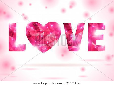 Love and heart made up from pink triangles.