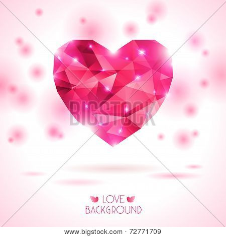 pink jewel heart on white backdrop with shadow