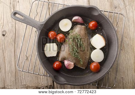 Plaice With Vegetable In A Pan