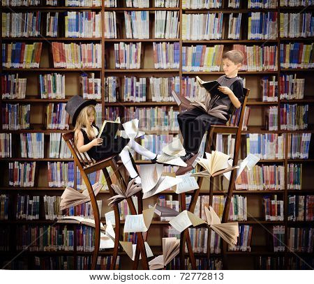 Kids Reading Books In Fantasy Library