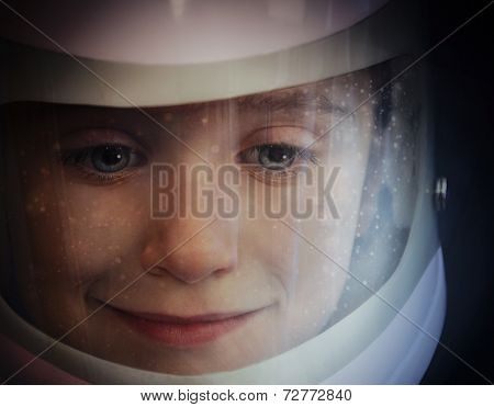 Space Boy In Astronaut Helmet