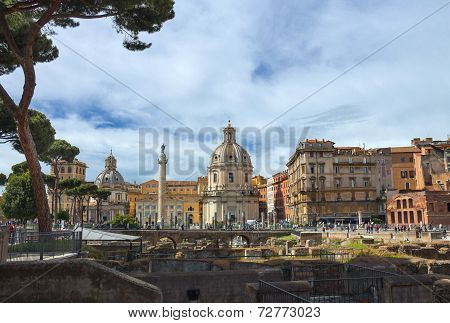 Ruins Of The Forum Of Trajan On Background Of The Church Holy Name Of Mary And Of Trajan's Column In