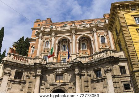 Flags Of Italy And The European Union On The Building In Rome, Italy