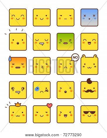 Vector icons of smiley faces.