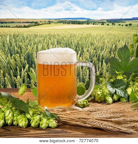 Beer Glass With Hops And Barley
