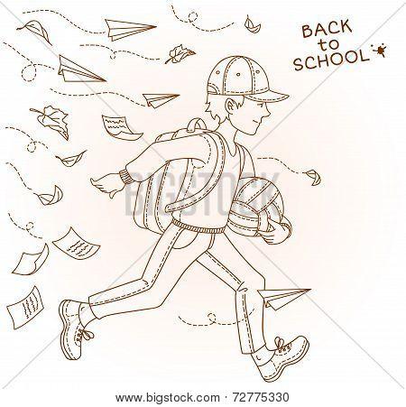 Boy go to school. Vector illustration.