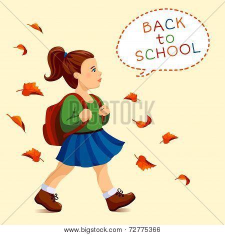 Girl go to school.