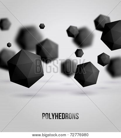 Abstract black geometric shapes on bright background, for graphi